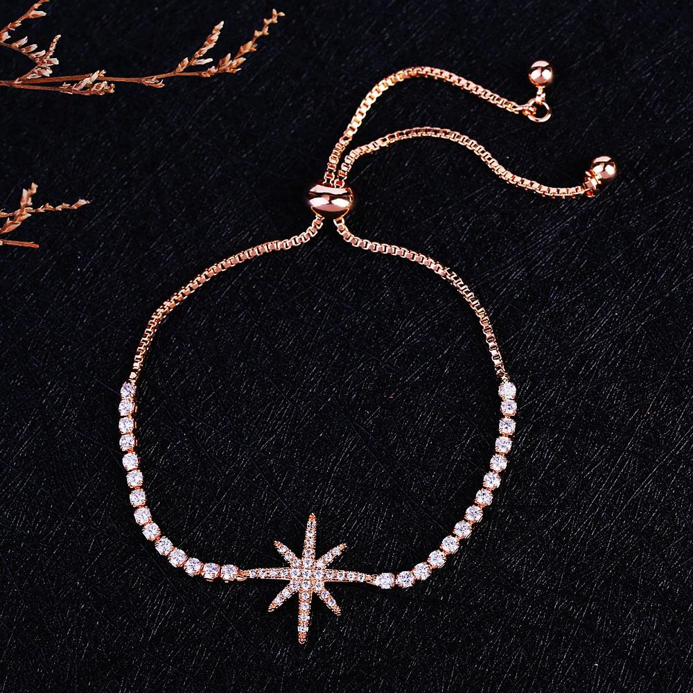 MIGGA Elegant Cubic Zirconia Star Armbånd til Kvinder Hvid / Rose - Mode smykker - Foto 2