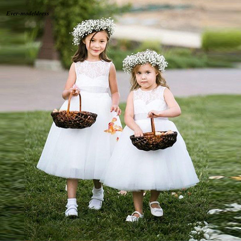 Pretty White A-Line   Flower     Girls     Dresses   For Wedding Lace Tulle First Holy Communion   Dresses   primera comunion