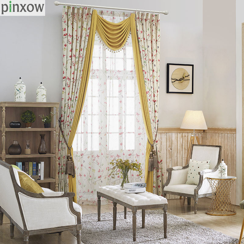 Luxury Printed Rustic Country Curtains Bedroom Ready Made Window Panel  Curtains Living Room Butterfly Fabric Drapes Flower Blind