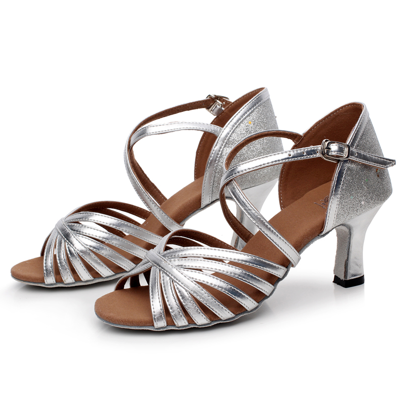 Women s Lady s Girl s Adult Sandals Leatherette Latin Tango Salsa Ballroom  Waltz Dance Shoes Gold Silver Wholesale-in Dance shoes from Sports ... 4a62d76f343a