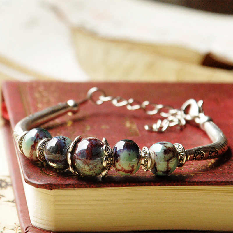 Vrouwen Zilveren Manchet Armbanden Keramische Kralen Armbanden Bloem Charm Polsbandjes Verstelbare Link Chain Etnische Sieraden Accessoires