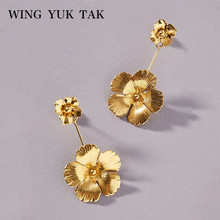 2019 New Gold Color Butterfly Flower Earrings Hot Sales Fashion Punk Style Statement For Women