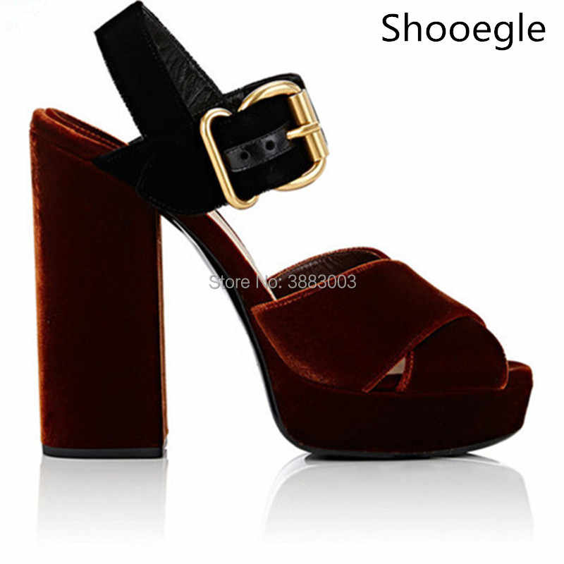 0f2a66cd9a1e1 New Korean Style Velvet Women Platform High Heels Gladiator Sandals  Crossing Belt Women Chunky High Heel