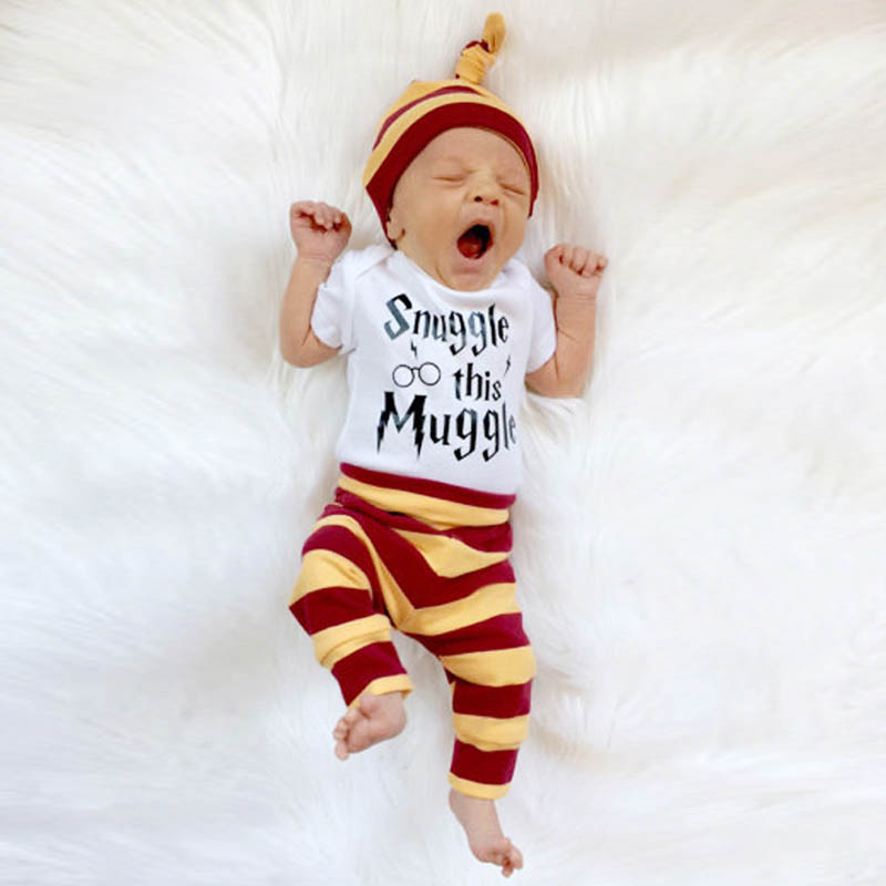 Brand BABY BALL Summer Baby Set Newborn Infant 3pcs Clothing Set Romper Pants Hat Cotton Stripe