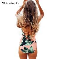 Minimalism Le One Piece Swimsuit 2018 Sexy Bikinis Bandage Women Swimwear Halter Top Biquini Print Maillot