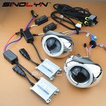 "3.0"" Full Metal HID Bi xenon Lens Headlight Projector Xenon Headlamp Lenses Kit For Kia Rio K2 Retrofit Angel Eyes 4300K 6000K"