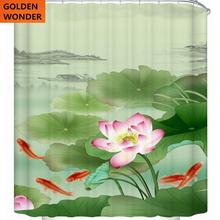 Chinese Style Koi Pond Curtain For The Bathroom Waterproof Thick Shower Curtains Green Lotus Flower Beautiful High Quality