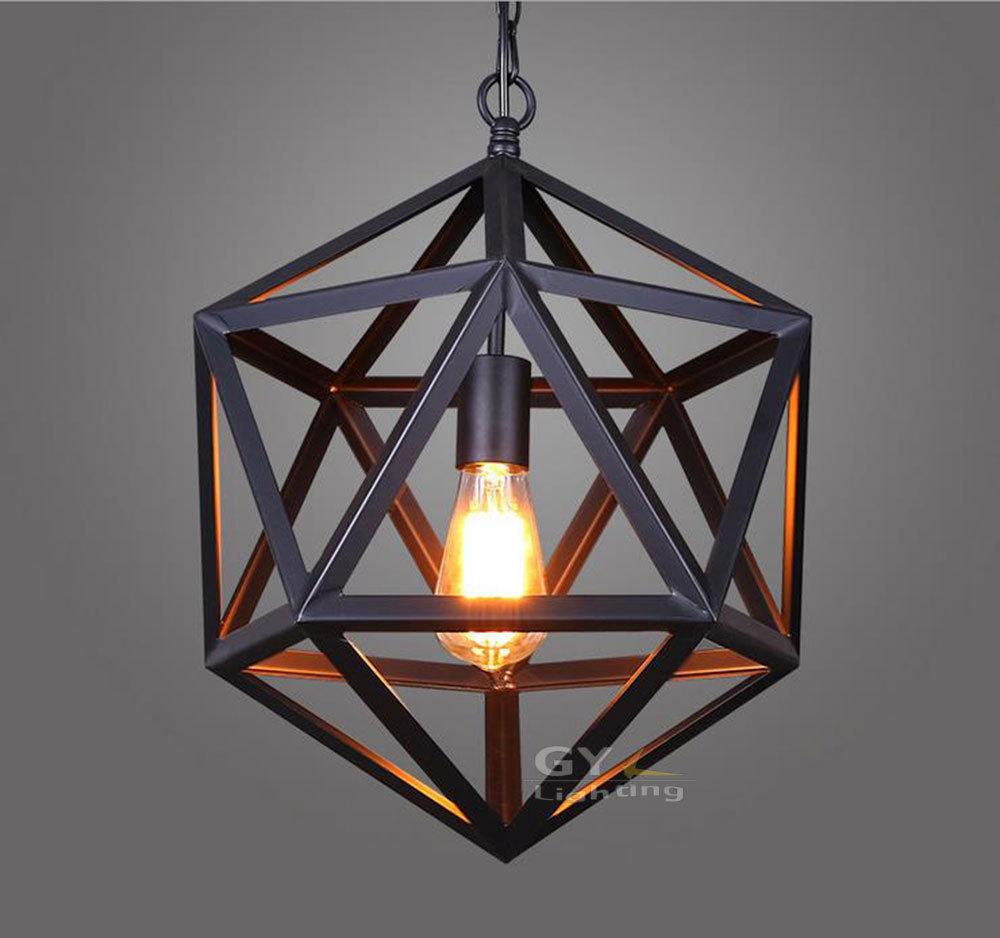 Ac100 240v d35cm ou d40cm art déco moderne vintage edison pendentif lumière polyhedron art déco