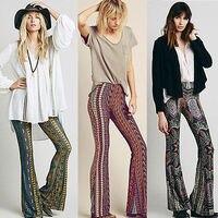 2016 Newly Hot Sale Boho Vintage Pants Bell Bottom Wide Leg Pants Trousers Paisley Print Stretch