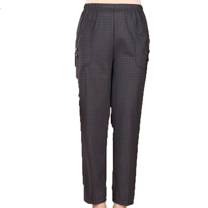 Elderly Lady Causal Pants Black Plaid Trousers Grandma Elastic Waist Pant Plus Size Trouser 50s 60s 70s 80s <font><b>Pantalones</b></font> <font><b>Mujer</b></font> <font><b>4XL</b></font> image