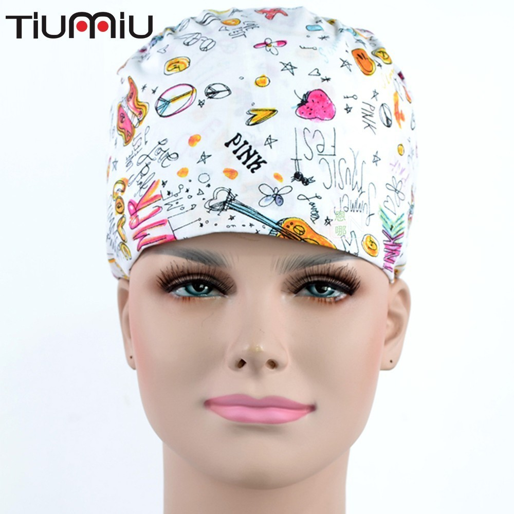 Grace Operation Room Hats ( Doctor Nurse Pure Cotton Printing Cosmetology Plastic Gourd Hat ) Pink Summer