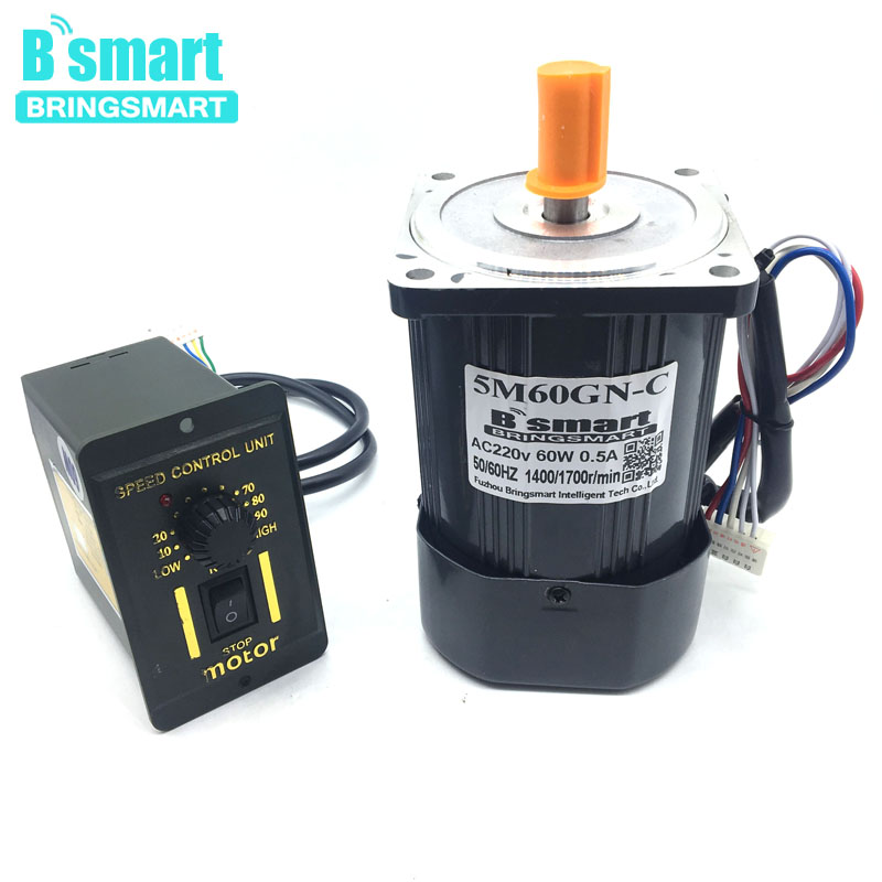 Bringsmart 60W AC Speed Regulating Motor 220V Miniature Optical Axis Motors 1400/1700 rpm High-Speed Motor With Speed Governor
