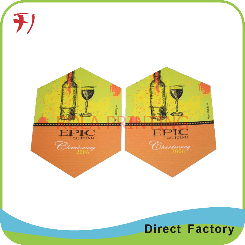 Fancy custom wine bottle sticker printing, waterproof clear vinyl wine sticker, gold stamping wine stikcer