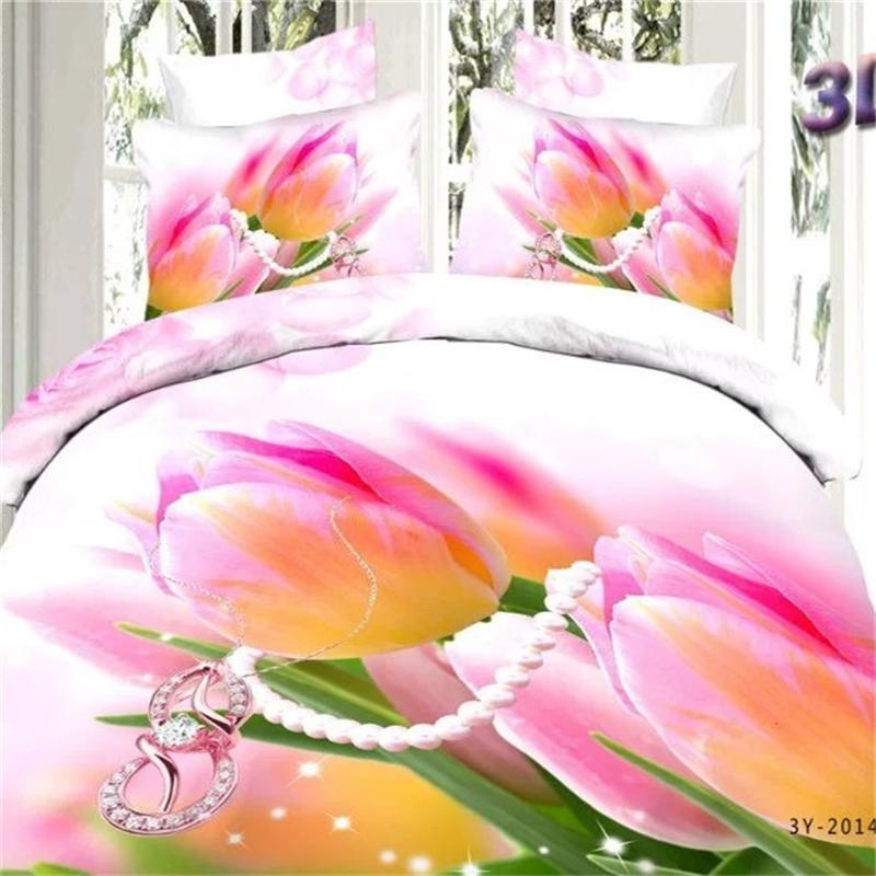3D Rose Imprimé floral Tulipes Ensemble de Literie 100% Coton Couette Couvre Taie D'oreiller Draps pour lit Queen Size