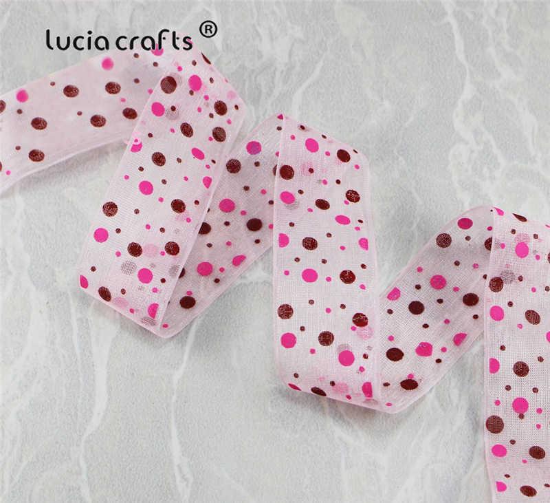 ขาย! Lucia หัตถกรรม 5 หลา/9 หลา 25mm หลายสีตัวเลือก Dot พิมพ์ Organza ริบบิ้นลูกไม้สำหรับบรรจุและโบว์ CH1104