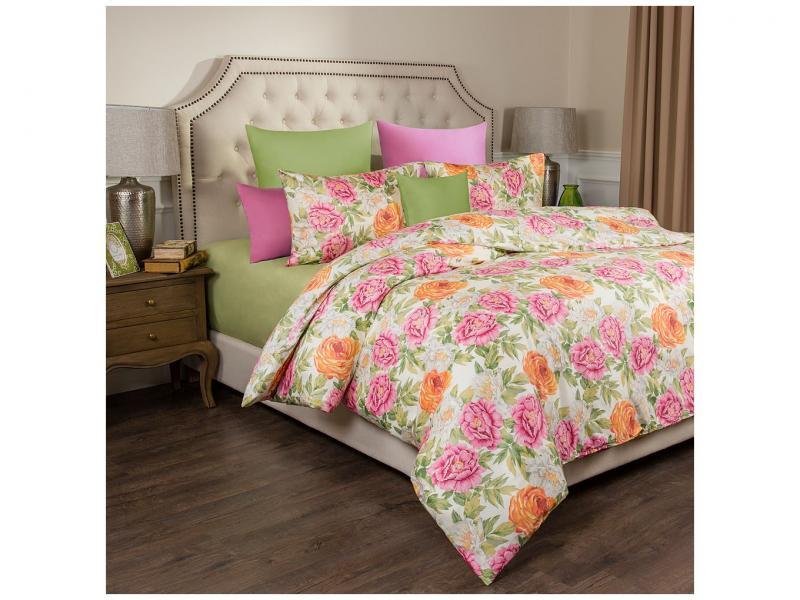 Bedding Set double SANTALINO, PEONIES, Green