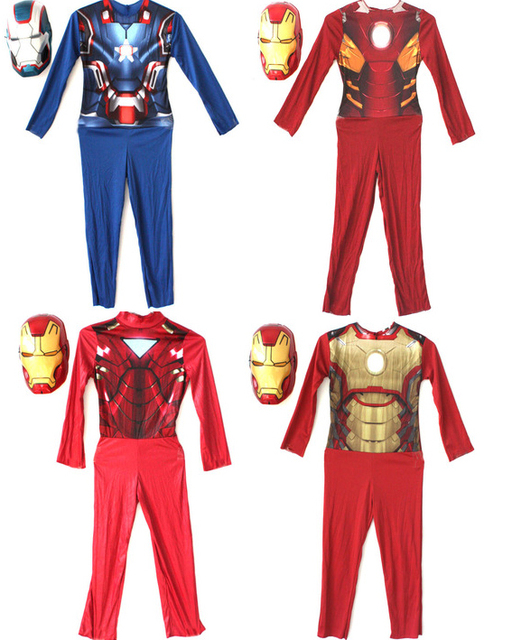 Blue red children the avengers Iron man costume stretchy party clothes with mask clothing for kid  sc 1 st  AliExpress.com & Blue red children the avengers Iron man costume stretchy party ...