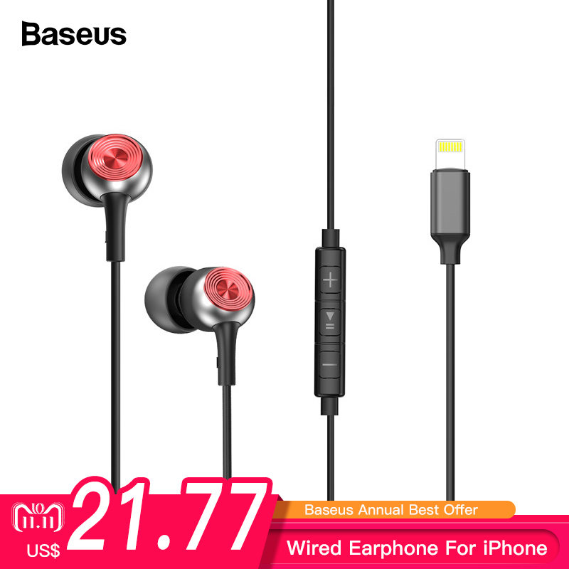 Baseus P02 Wired Earphone Stereo Bass Sound Headset In Ear Earphones With Mic Earpiece For iPhone X 8 7 IOS 11 10 9 8 7 kulakl k in ear earphone baseus wired stereo earbuds super bass headset with mic earphone for iphone xiaomi samsung mp3 mobile phones