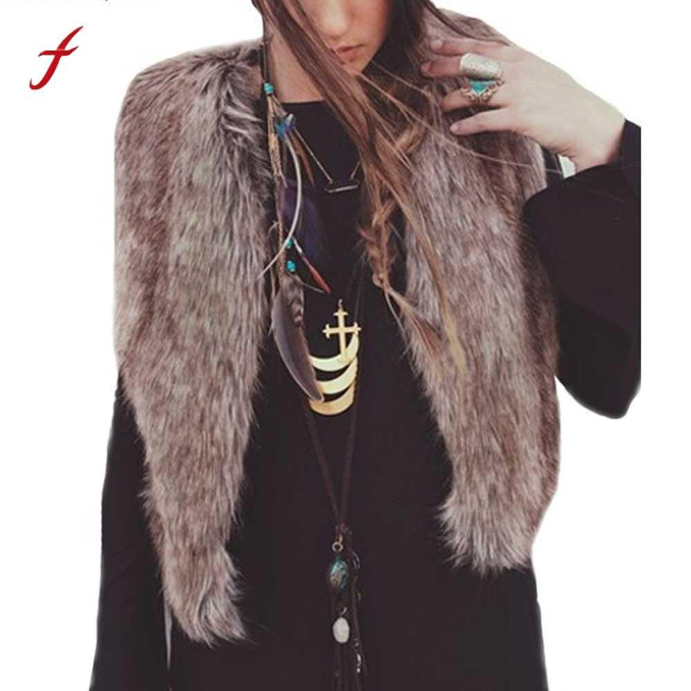 Feitong mujeres Chaleco de piel sintética sin mangas abrigo chaqueta de  pelo largo chaleco casaco feminino 3d0d72dad9ff