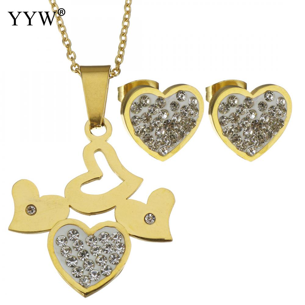 Stainless Steel Jewllery Set Rhinestone Stud Earring Pendant Necklaces For Women Jewelry Accessories