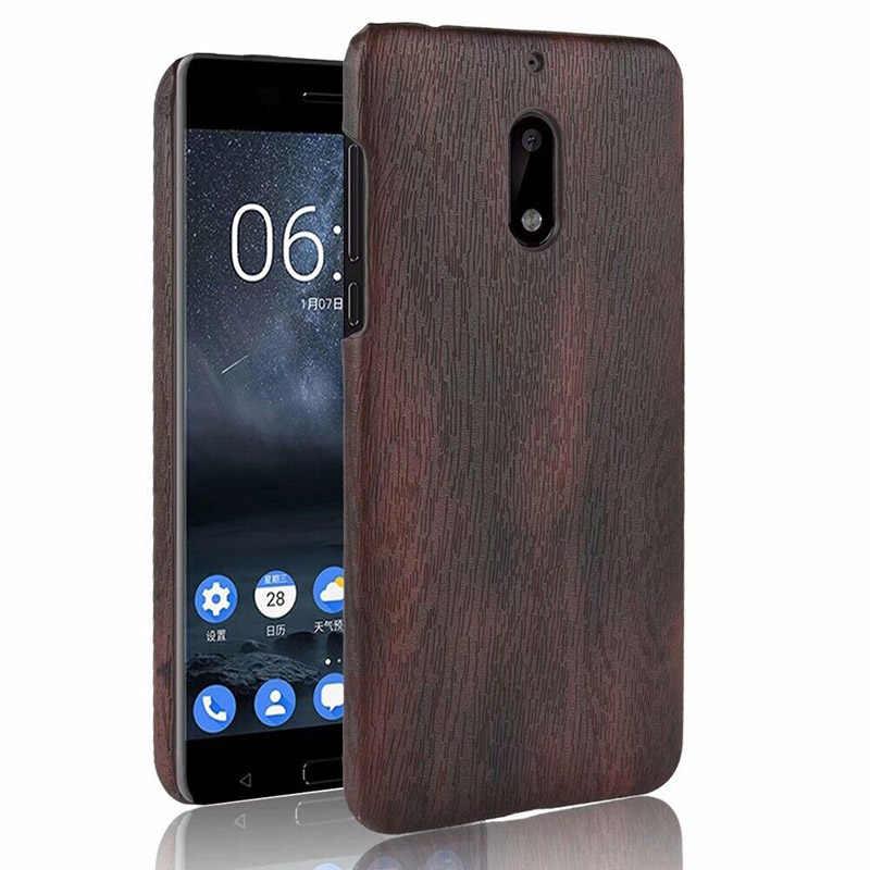 דפוס בצבע עץ קשיח חזרה כיסוי עבור Nokia 3 5 6 8 מקרה נגד לדפוק עור כיסוי עבור נוקיה 6 2018 7 בתוספת מקרה בציר Coque