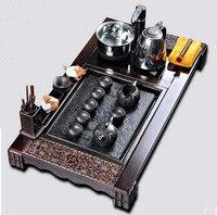 Yixing Tea Set Kung Fu Tea Set Black Stone Quad Wood Tea Tray Well Pumping