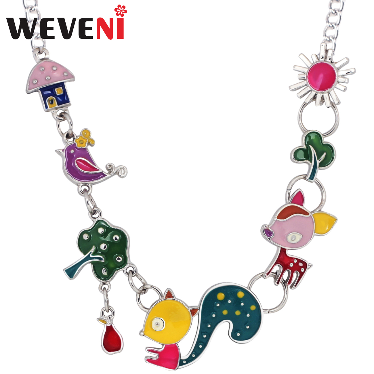 Colors Women Squirrel Butterfly Owl Skull Pendant Necklace Sweater Chain Jewelry