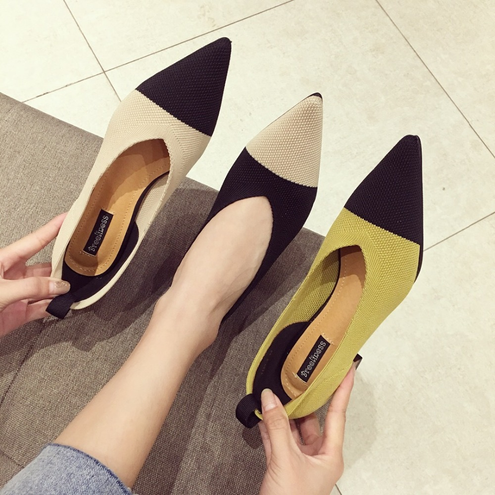 Square Heels Shoe Loafers Pointed-Pumps Knitted Med Footwear Slip-On Mujer Korean Mixed-Color