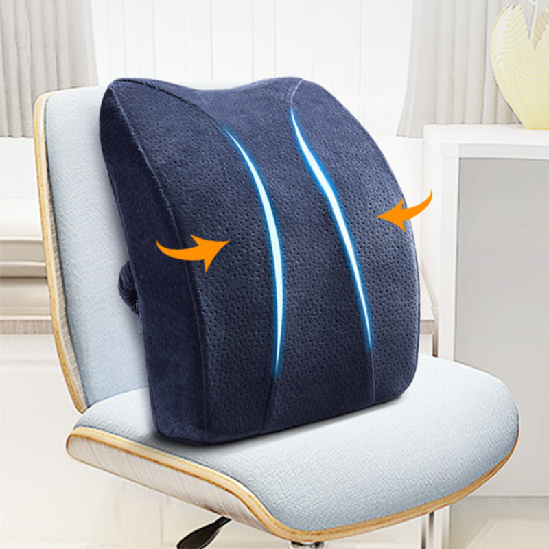 High Quality 41*37*9.5cm Memory Foam Seat Pillow Car Chair Back Cushion Pad Waist Spine Coccyx Protect Orthopedic For Lumbar Dis