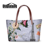 Dispalang The famous Eiffel Tower printing women handbags brand design girls embossed bag with flowers butterfly party tote bags