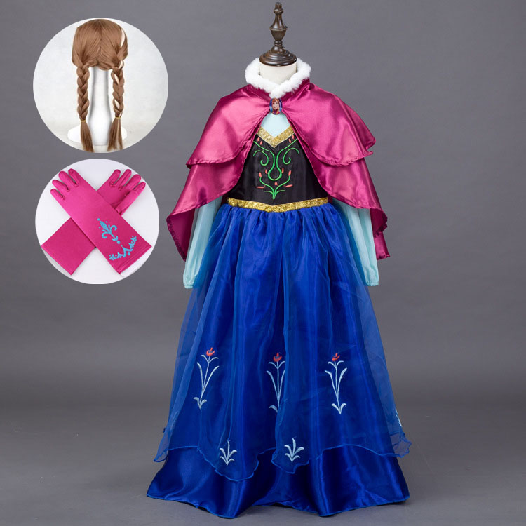 2-9 Y Kids Childrens Fancy Dress Outfits Toddler Halloween Costumes for Girls Princess Elsa Anna Birthday Dresses with Cape
