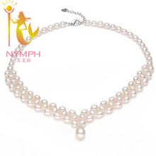 NYMPH Pearl Necklace Pendant Real Fresh Water Two Rows Fine Jewelry Trendy Engagement Wedding Gift For Women [X10010]