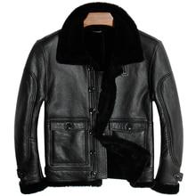 Envío gratis. Chaqueta de piel de oveja 100% para hombre, chaquetas de piel auténtica para hombre. Abrigo de piel de oveja gruesa de invierno, piel de oveja suave