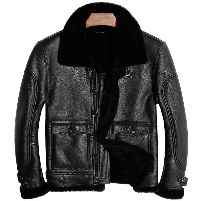 Free shipping.Brand new mens 100% shearling Jacket,man genuine Leather jackets.winter thick sheep fur coat,soft sheepskin