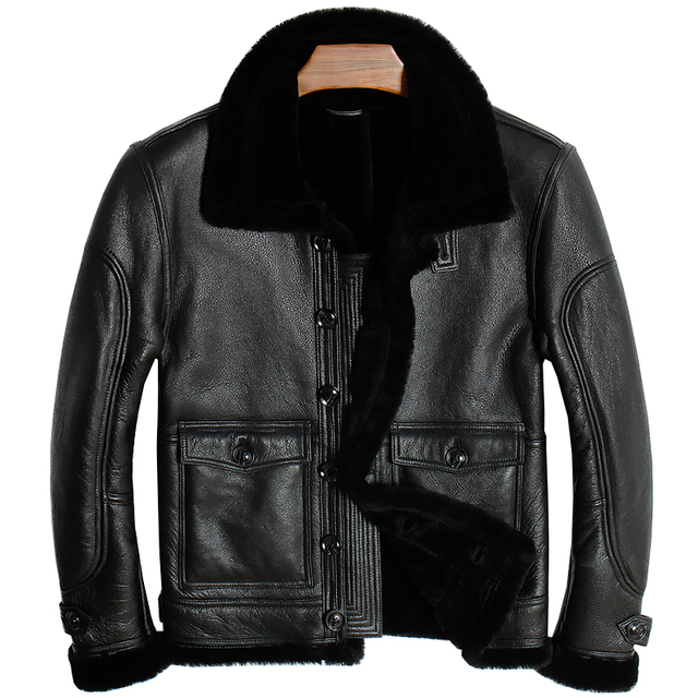 Free shipping.Brand new mens 100% shearling Jacket,man genuine Leather jackets.winter thick sheep fur coat,soft sheepskin
