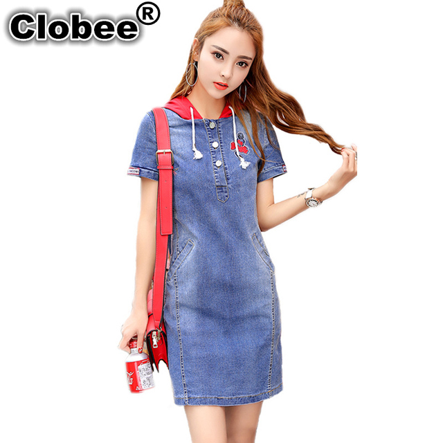Clobee Womens 2018 Red Hooded Jeans Dress Shirt Ladies Sexy Summer Hoodie  Dress Office Ethnic Embroidery Denim Dresses For Women 4ec0c81d68