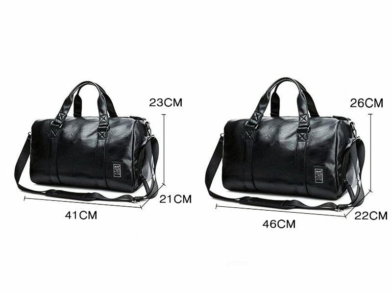 Black Gym Bag Men Leather Duffle Bag Women Independent Shoe ... 917551e012ff2