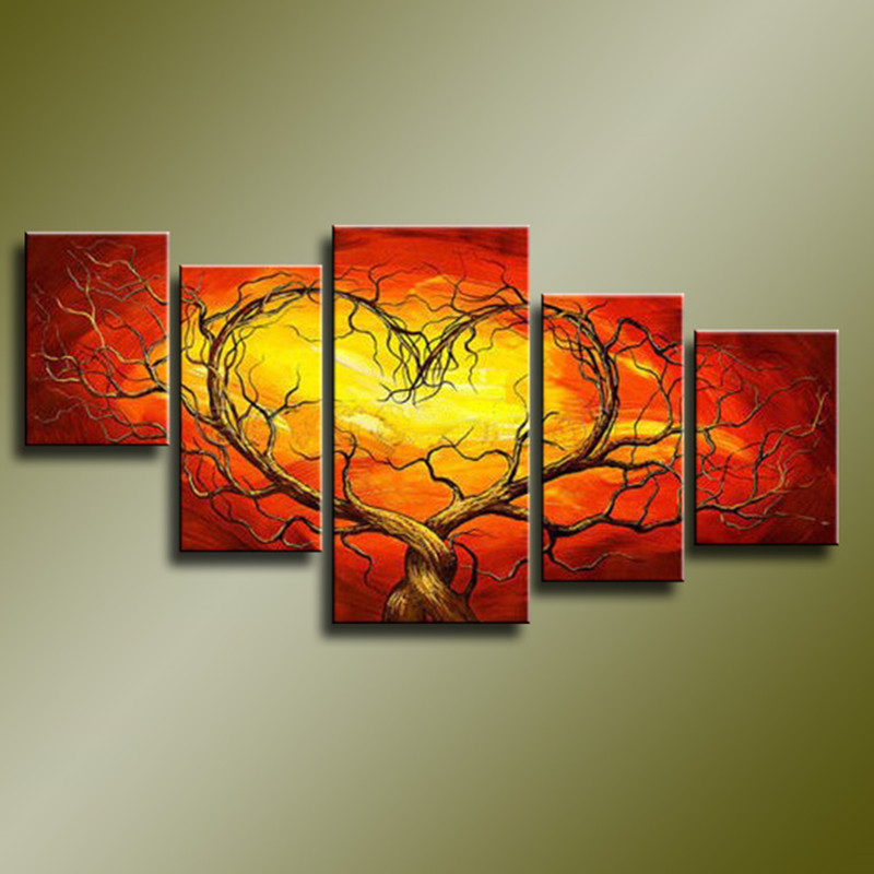 Large Home Decoration 5 Piece Wall Art Pictures Handmade Red Orange Paintings Handpainted Abstract Tree Oil Painting on Canvas