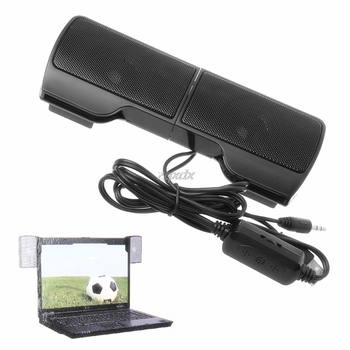 1 Pair Mini Portable Clip-on USB Stereo Speakers line Controller Soundbar for Laptop Notebook Mp3 PC Computer with Clip Jy19 19 1