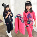Girls winter thickening with a hood wadded cotton coat pants waistcoat 3pcs outerwear girl fur hooded inside hoodies clothes set