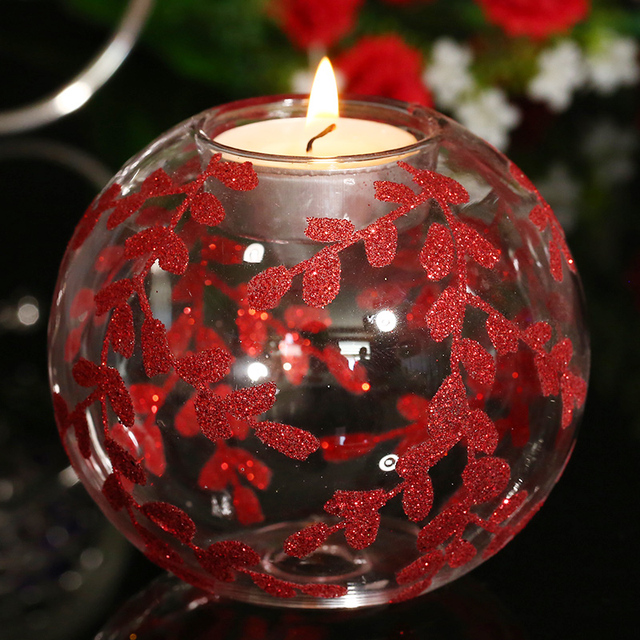 Round Glass Ball Tealight Candle Holder with Red Oiser Design Table Dinner Centerpiece Decoration Glass Holder Valentine Favor