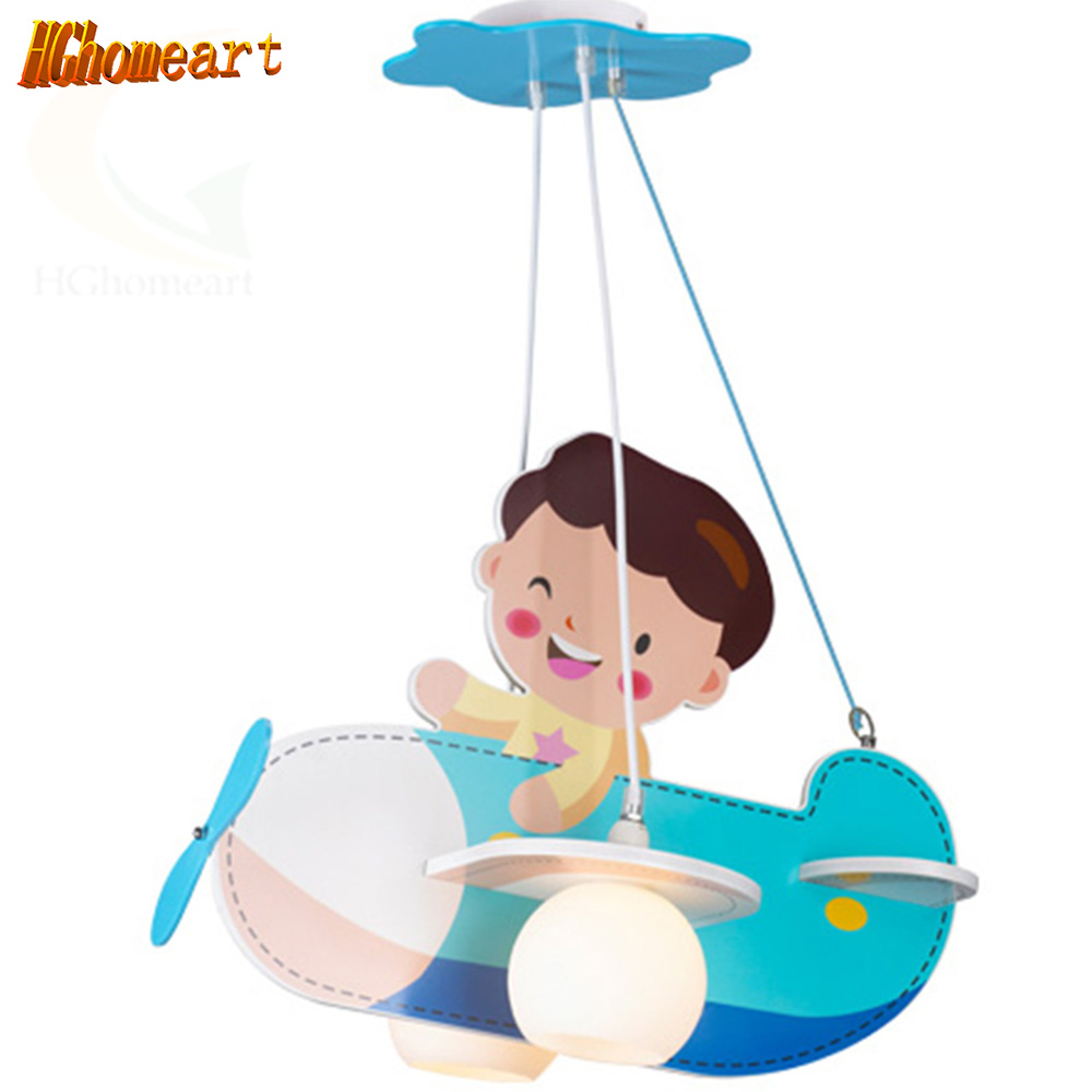 Hghomeart Child Led Lamp Aircraft Creative Children's Room Study Chandelier Cartoon Boy Bedroom Led Chandeliers wrought iron chandelier aircraft lamp boy children master bedroom room led chandeliers creative cartoon