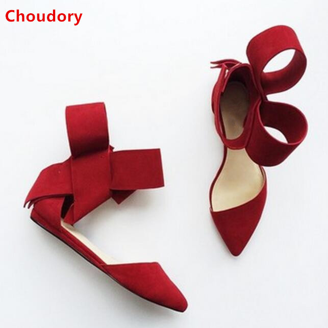 Spring fashion big bowtie pointed toe flats for woman red/black/rose butterfly-knot cover heel women suede flat heel shoes brilliant genuine sheepskin leather flat heel single shoes 2016 spring summer square toe rhinestones black rose red ballet flats