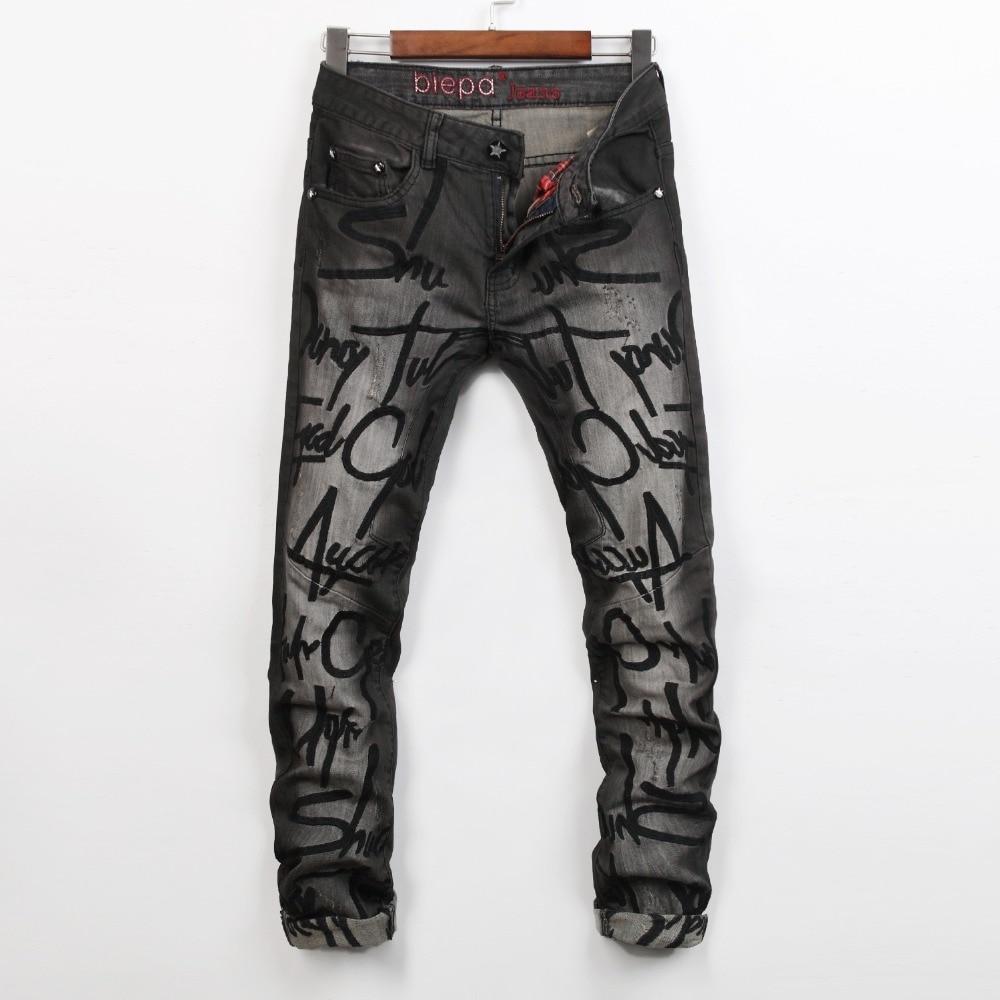 Skinny Jeans Men Black Letters 2015 Hot Mens Designer Jeans Famous Brand Jean Pantalons Homme Slim De Marque 17gjmst598 CHOLYL