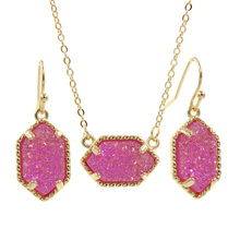 YJX Genuine Gold Color Mini Iridescent Drusy Pendant Necklace With Drop Earrings Fashion Jewelry Sets azora rose gold color austrian crystals water drop twining with leopard riband earrings and necklace jewelry sets tg0194