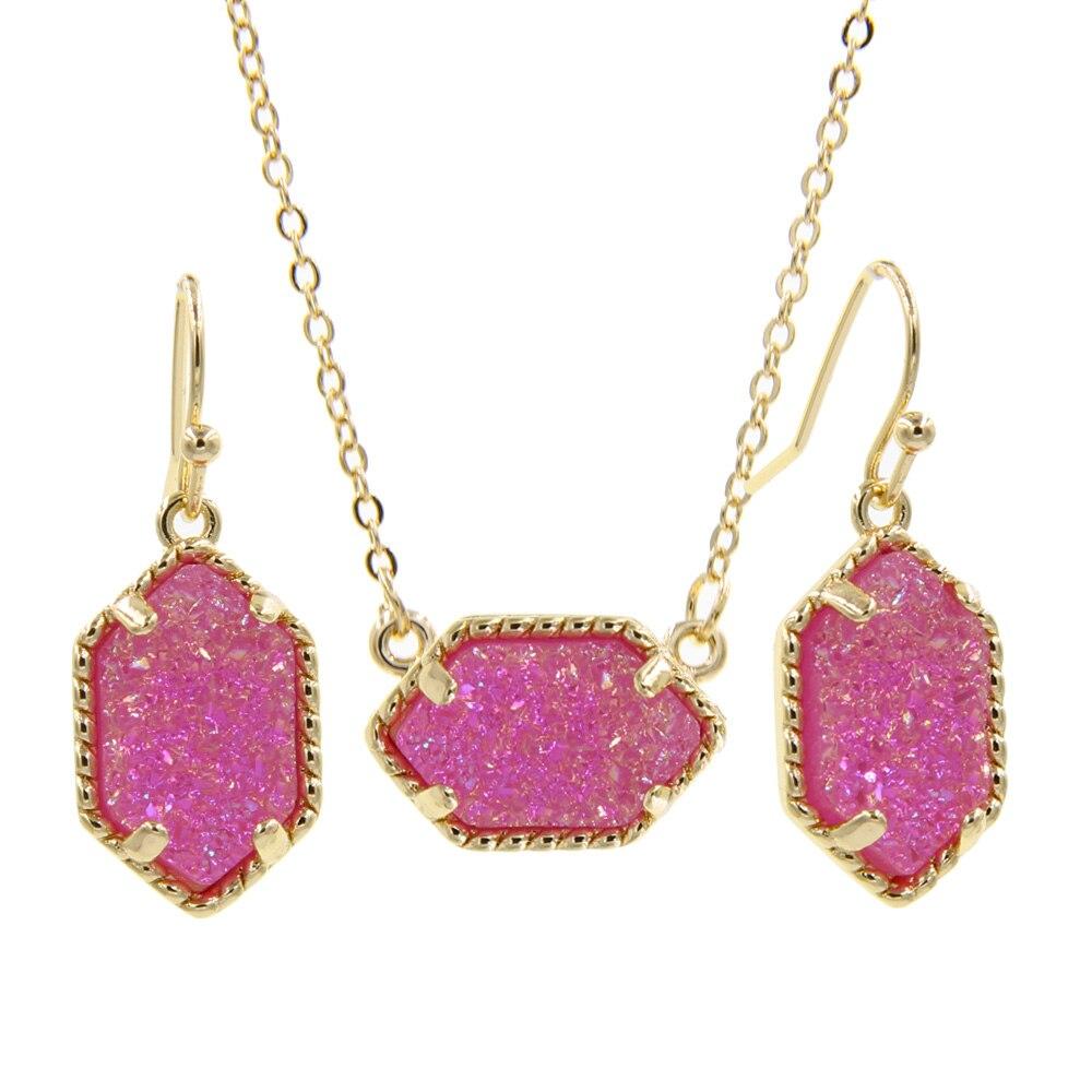 YJX véritable or couleur Mini irisé Drusy pendentif collier avec boucles d'oreilles goutte ensembles de bijoux de mode