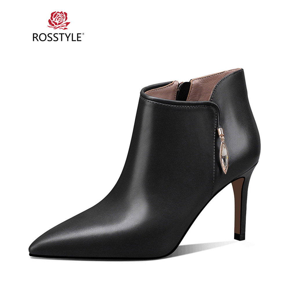 ROSSTYLE 2018 Winter Mature Woman Ankle Boot Luxury Genuine Leather Solid Short Boot Elegant Pointed Toe Thin Heel Lady Boot B72ROSSTYLE 2018 Winter Mature Woman Ankle Boot Luxury Genuine Leather Solid Short Boot Elegant Pointed Toe Thin Heel Lady Boot B72