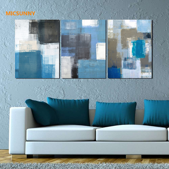 MICSUNNY Abstract Blue White Gray Graffiti Pictures Canvas Prints ...