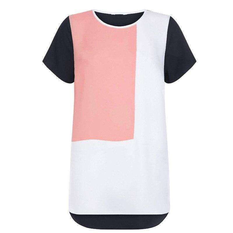 Summer Blouae Women Short Sleeve Patchwork Chiffon Geometric Long Blusas Blouse Shirt 6XL