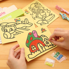 10pcs Random 8.5*11.4CM DIY Sand Painting Toy Painting Papers For Kids Kindergarten Teaching Color Perception Learning Tool